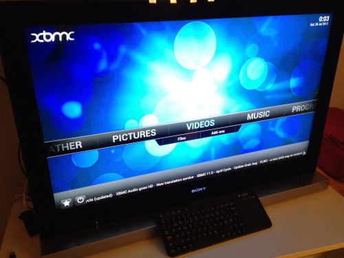 OpenElec XBMC running on Raspberry Pi HTPC