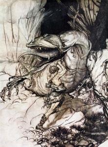 Siegfried kills Fafnir (wikimedia commons)