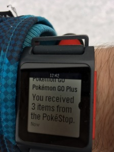 Pokémon GO Plus notifications via iPhone in Pebble Time 2 smartwatch.