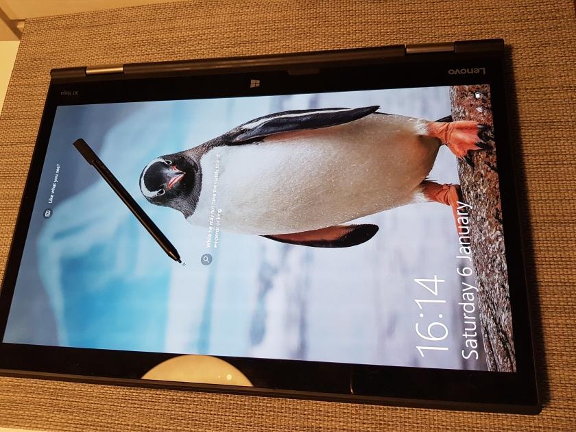 Lenovo X1 Yoga (2nd gen) in tablet mode