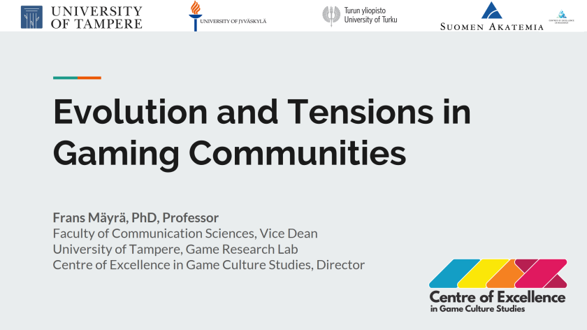 Evolution and Tensions in Gaming Communities (slides image)