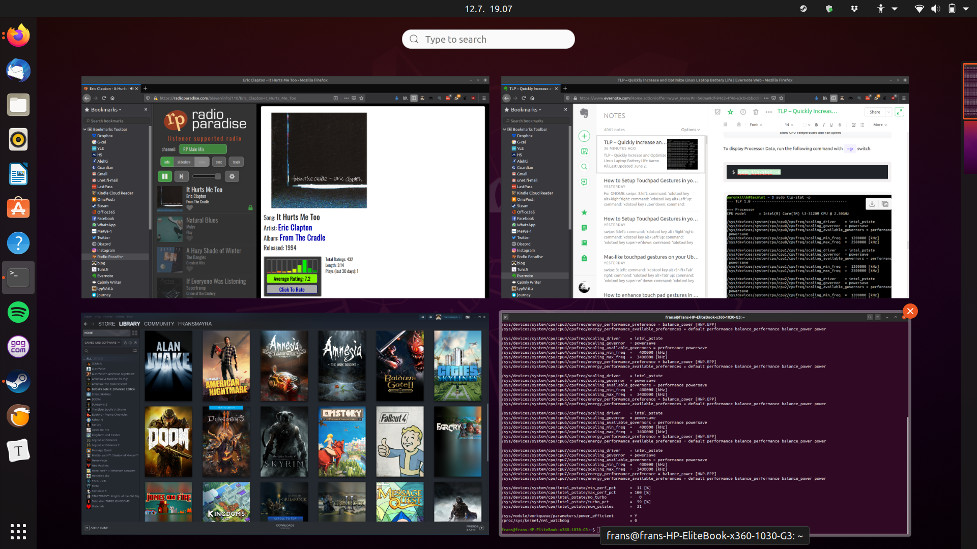 Ubuntu on HP Elitebook x360 (screenshot).